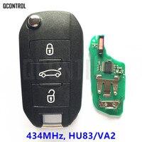 QCONTROL Car Remote Key For Peugeot 208 2008 301 308 508 Hella 434MHz HU83 Or VA2