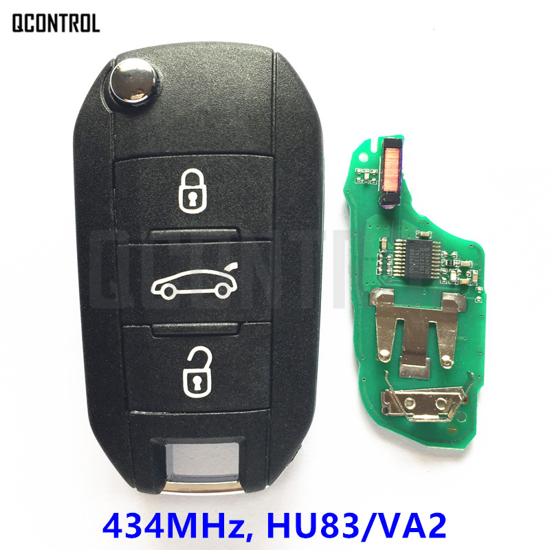 QCONTROL Car Remote Key for Peugeot 208 2008 301 308 508 Hella 434MHz HU83 or VA2 Blade-in Car Key from Automobiles & Motorcycles