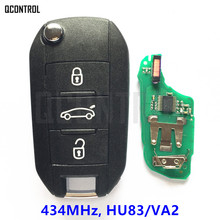QCONTROL Car Remote Key for Peugeot 208 2008 301 308 508 Hella 434MHz HU83 or VA2 Blade