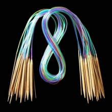 18Pcs 18 Sizes Tube Circular Carbonized Bamboo Knitting Needles Pins 40cm-120cm DIY Apparel Sewing & Fabric(China)