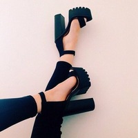 Luxurious Ankle Strap Chunky Heel Buckle Strap Black Suede Sandals High Platform Shoes Female Thick Heel
