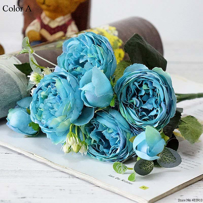 Silk Rose Peony Artificial Flowers Small Bouquet For Wedding Decoration 13