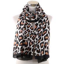 Winfox Fashion Silk Leopard Scarf Women Black Animal Print Soft Long Shawls Scarves Female Stole