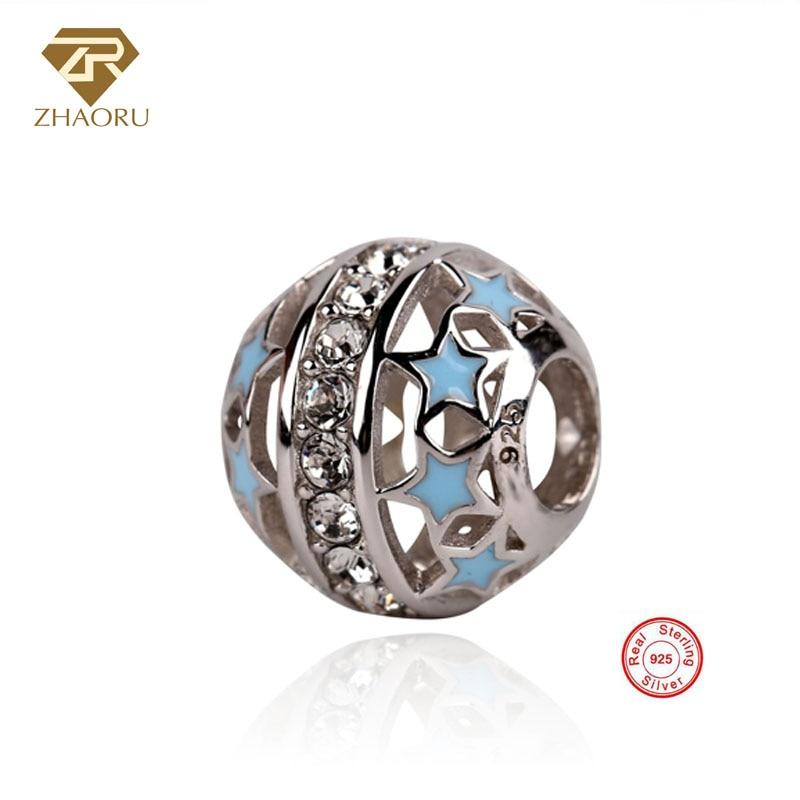 Zhaoru Authentic 925 Sterling Silver Enamal Pendant Charm Fit Bracelet & Bangle Necklace  Jewelry Bead
