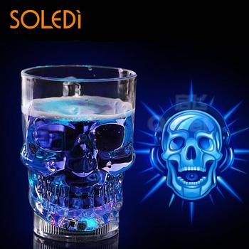 1pc Creative LED Skull Cup Bar Pub Beer Drink Beverage Barware Flash Club Glass Cup Kitchen Bar Accessories Kitchen Drinkware