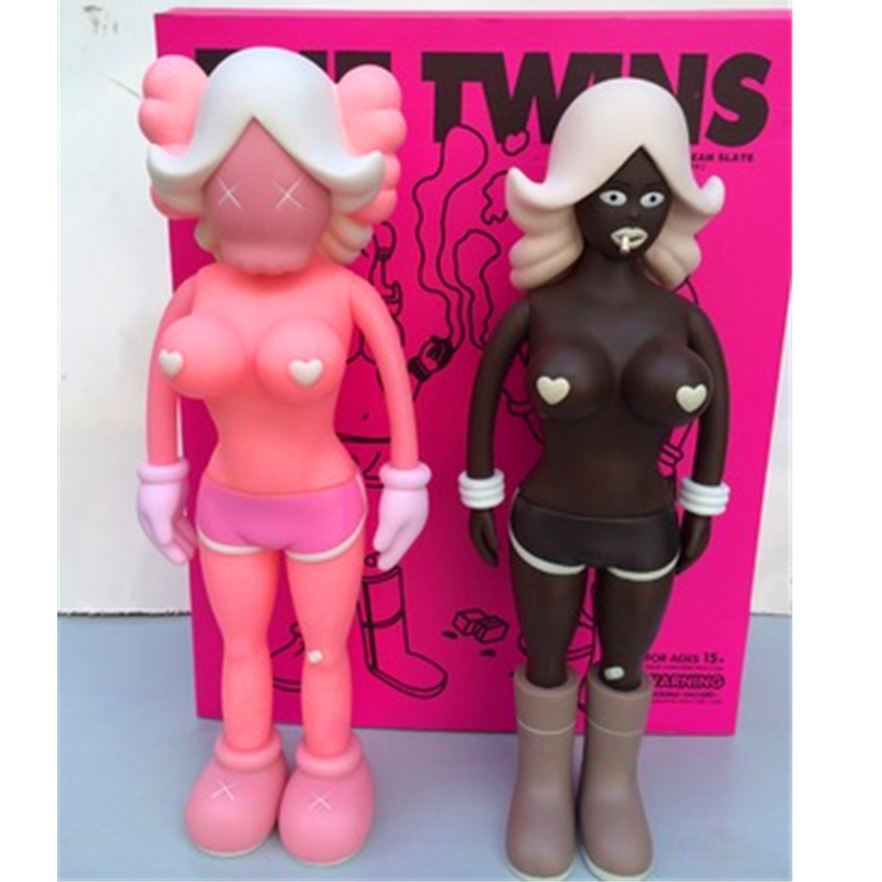 Brian Street Art Action Figure KAWS BFF OriginalFake REAS THE TWINS MONO 40CM 15.7 Inches Doll Exquisite RETAIL BOX S171 12 inch kaws bff pink rabbit fashion doll originalfake brian street art pvc action figure collectible model toy retail box s168