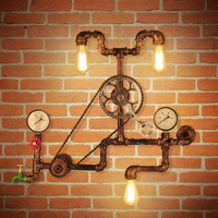 Vintage Retro Loft Industrial Wind Bicycle Wheel Gear Wall Lamp Wrought Rustic Iron Water Pipe Wall Sconce for Cafe Bar Club