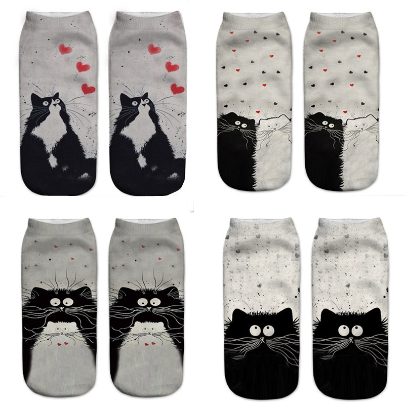 Cat   Socks   3D Women's   Socks   Women Low Ankle   Socks   Casual Printed   Socks