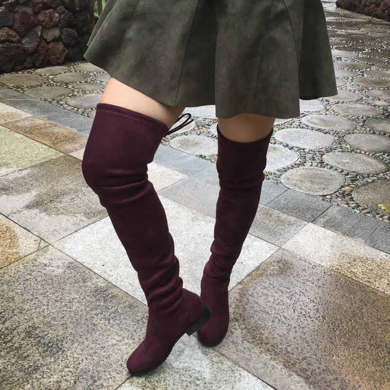 Streç Faux süet uyluk yüksek çizmeler kadın diz üzerinde çizmeler düz topuk seksi moda güz kış büyük boy ayakkabı 2019 siyah gri