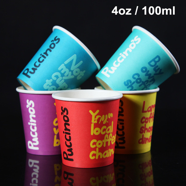 300 X 4oz Disposable Thicken Espresso Coffee Cups English Word Style Free Tasting Drinking Paper Cup