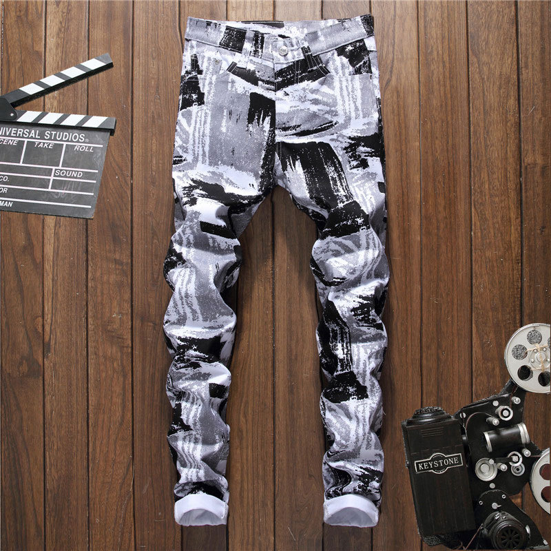 New 2018 printed trousers cultivate young man without playing long trousers fashion casual pants wet pants 5012 nightclub