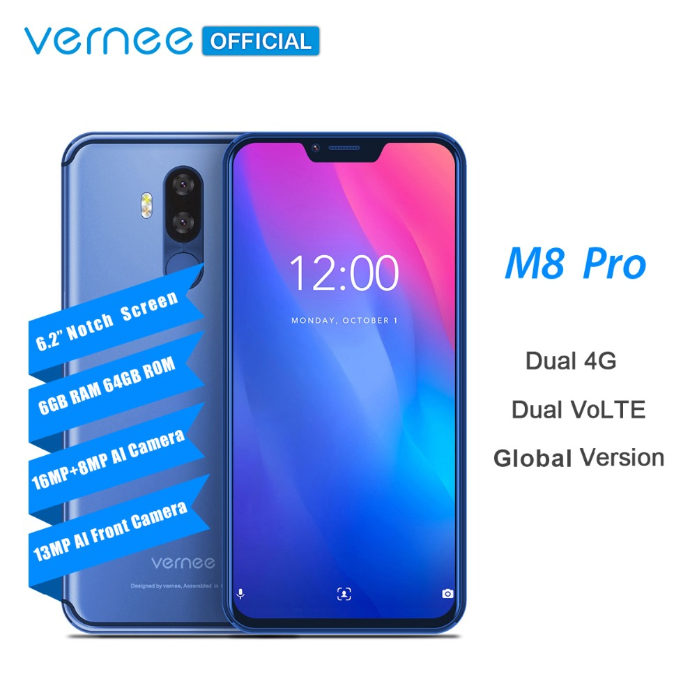Vernee M8 Pro 6.2''notch Screen Smartphone 6GB 64GB Android 8.1 Octa core Cellphone 4100mAh AI Dual camera Fast charging phone
