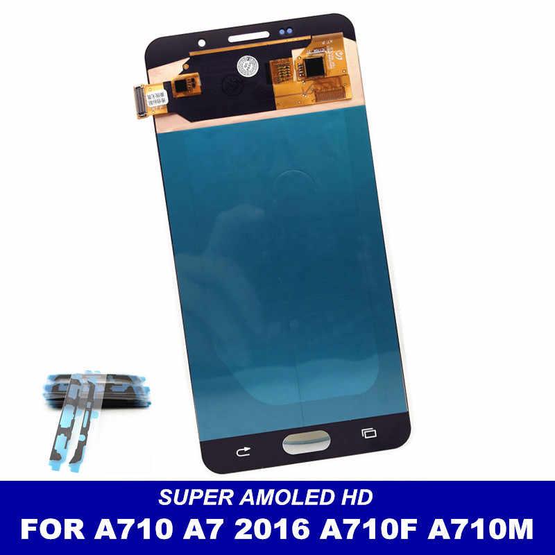 AMOLED شاشات الكريستال السائل لسامسونج غالاكسي A7 2016 A710 A7100 A710F A710M شاشة إل سي دي باللمس محول الشاشة الرقمي قطعة بديلة لمستشعر