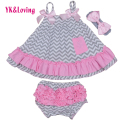 Girls Clothing Set Newborn Sling Bat Shirt Swing Top Ruffle Bloomers Short  Baby Clothes headband Causal 2017 New Summer