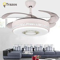TRAZOS 42 Inch Modern LED Crystal Ceiling Light Fan Living Room Bedroom Invisible Ceiling Fans With Lights Remote Control 220v