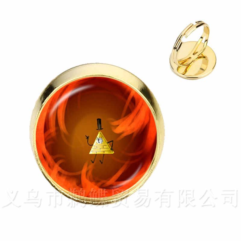 Новые популярные кольца в стиле стимпанк, драма Гравити Фолз, загадки Билла, кольцо с серебряным/золотым покрытием, 2 цвета, кольца для женщин
