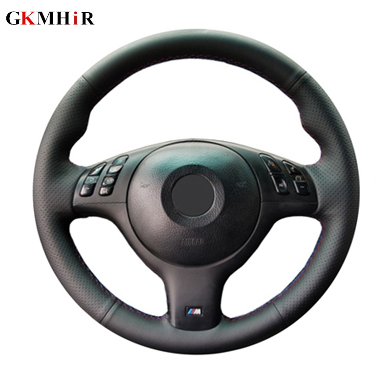 GKMHiR Hand-stitched Artificial Leather Black Car Steering Wheel Cover For BMW 330i 540i 525i 530i 330Ci E46 M3 E39 2001-2014