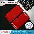 Para iphone 6 6 s 7 estilo de metal de alumínio de volta vermelho branco/vermelho preto caso habitação tampa porta da bateria de substituição com o logotipo