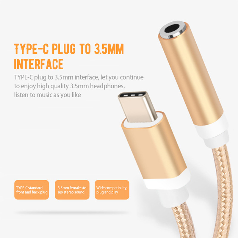 Type-C To 3.5mm Earphone Cable Adapter Usb 3.1 Type C USB-C Male To 3.5 AUX Audio Female Jack For Samsung Note 8 Huawei Xiaomi