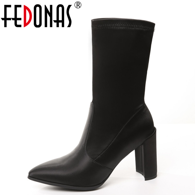 FEDONAS Autumn Women's Genuine Leather Satin Suede Mid-calf High-Heeled Boots Shoes Woman Sexy Pointed Toe Stretch Sock Boots double buckle cross straps mid calf boots