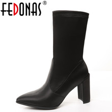 FEDONAS Autumn font b Women s b font Genuine Leather Satin Suede Mid calf High Heeled