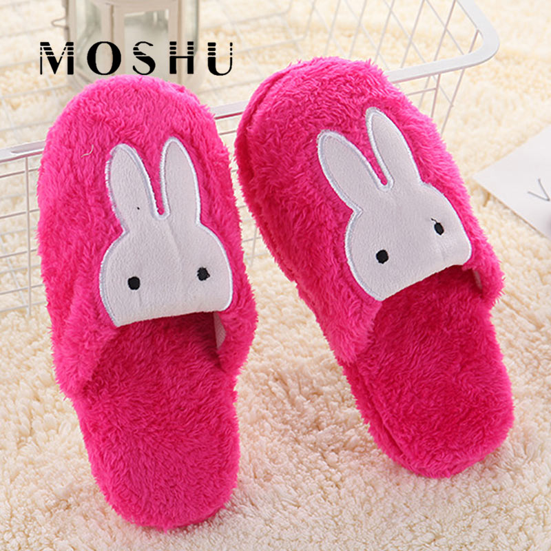 Women Home Cotton Slippers Cute Rabbit Prints Indoor Soft Slippers Winter Non Slip Couple Plush Warm Shoes Zapatillas Mujer