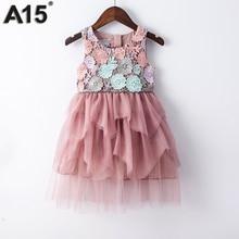 A15/бальное платье для девочек 2017 г. Летнее кружевное платье для маленьких девочек праздничное платье принцессы на день рождения для детей 6, 8, 10, 12 лет детская одежда