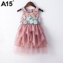 A15 Çocuklar Kız Balo Elbise 2017 Toddler Kız Yaz Dantel Elbise 6 8 10 12 Yıl Prenses doğum günü partisi elbisesi Çocuk giyim