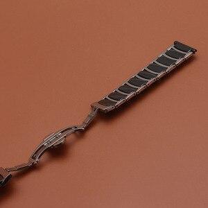 Image 3 - حار 20 مللي متر 22 مللي متر الفولاذ المقاوم للصدأ مع السيراميك الأسود الذكية حزام (استيك) ساعة حزام ل والعتاد S2 S3 ووتش الاكسسوارات الكلاسيكية الأسود تعزيز