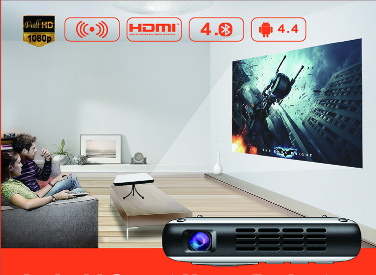Pocket Android Projector With LED Bulb (500 Lumens-RK3128-Quad Core 1GB DDR3-8GB Flash-HDMI-1080P-Bluetooth-4300mha Battery)