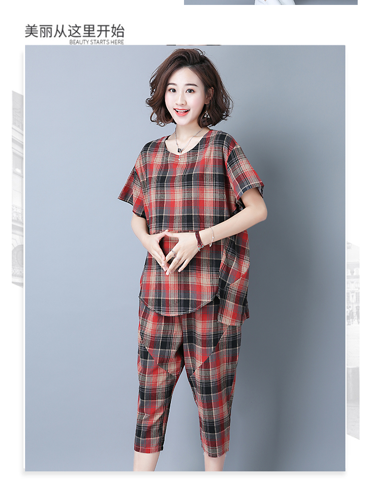 2019 Summer Plaid Cotton Linen Two Piece Sets Outfits Women Plus Size Short Sleeve Tops And Cropped Pants Casual Suits Red Green 42