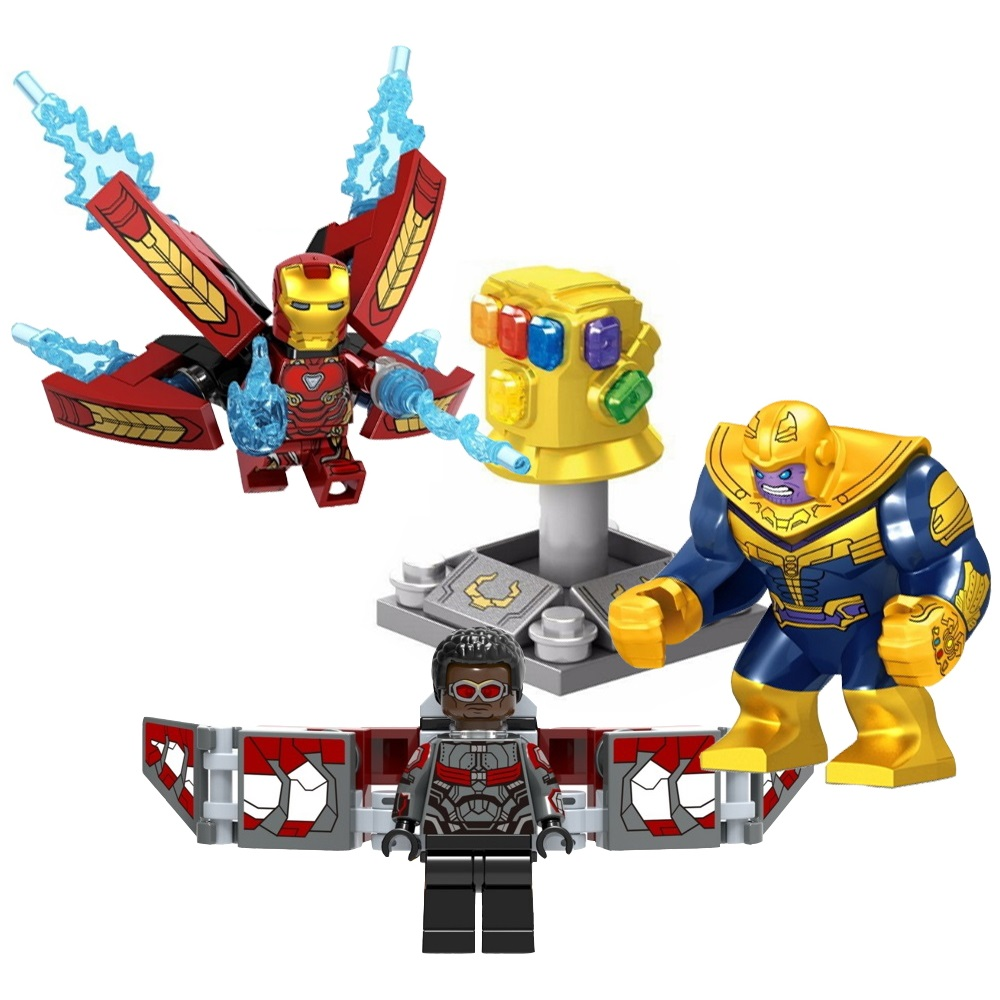 1pc Super Heroes Thanos Infinity Gauntlet Spider Iron Man Building Blocks Falcon Vision Figure Bricks Toy Gift Compatible Legoed