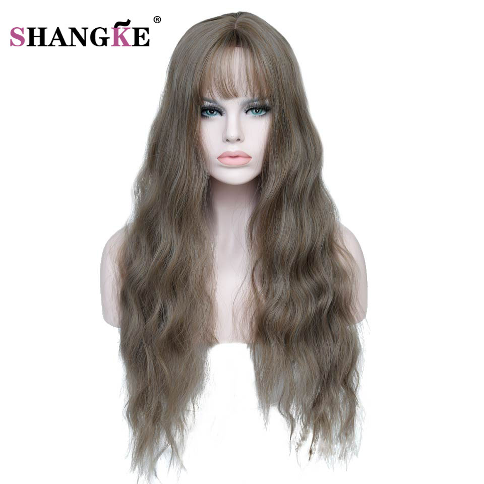 SHANGKE Long Kinky Curly Brown Hair Wigs For African Americans Heat Resistant Synthetic Wigs For  Women Hair
