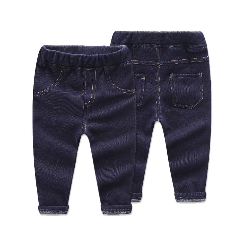 Baby Warm Pants Bright Jeans with Fleece Baby Girls Boys Leggings Winter Jeans For Kids Trousers For Children 12M-4T