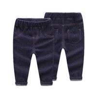 Meninos Das Meninas Do Bebê do bebê Calças Quentes calças de Brim Brilhantes com Velo Leggings Jeans Para Crianças Calças de Inverno Para Crianças 12 M-4 T