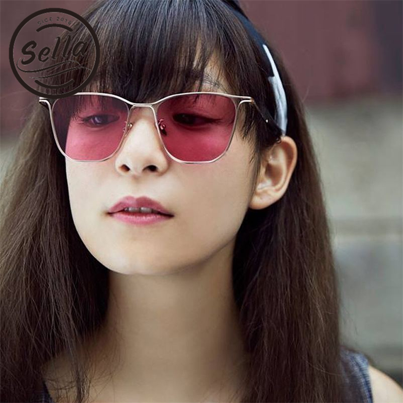 54b148f5ae Sella New Fashion Women Men Colorful Tint Lens Square Sunglasses Trending  Alloy Frame Pink Lens Rectangle Sun Glasses Wear UV400