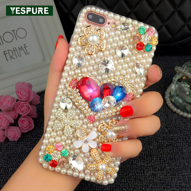 YESPURE Mobile Cases for Iphone 7plus Bling Glitter Pearls Mobile Phone  Accessories TPU Crystal Fancy Girl e774cdd1fbae