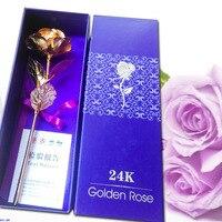 2 stks/partij Goudfolie Bloem Rose met 1 Prachtige Doos Metalen Ambachtelijke Huwelijkscadeau voor Verjaardag Moederdag Valentijn Dag