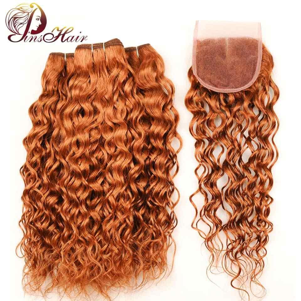 Pinshair Peruvian Water Wave Human Hair Bundles With Closure Gold Blonde 30 Hair Bundles With Closure Nonremy Hair Thick Bundles