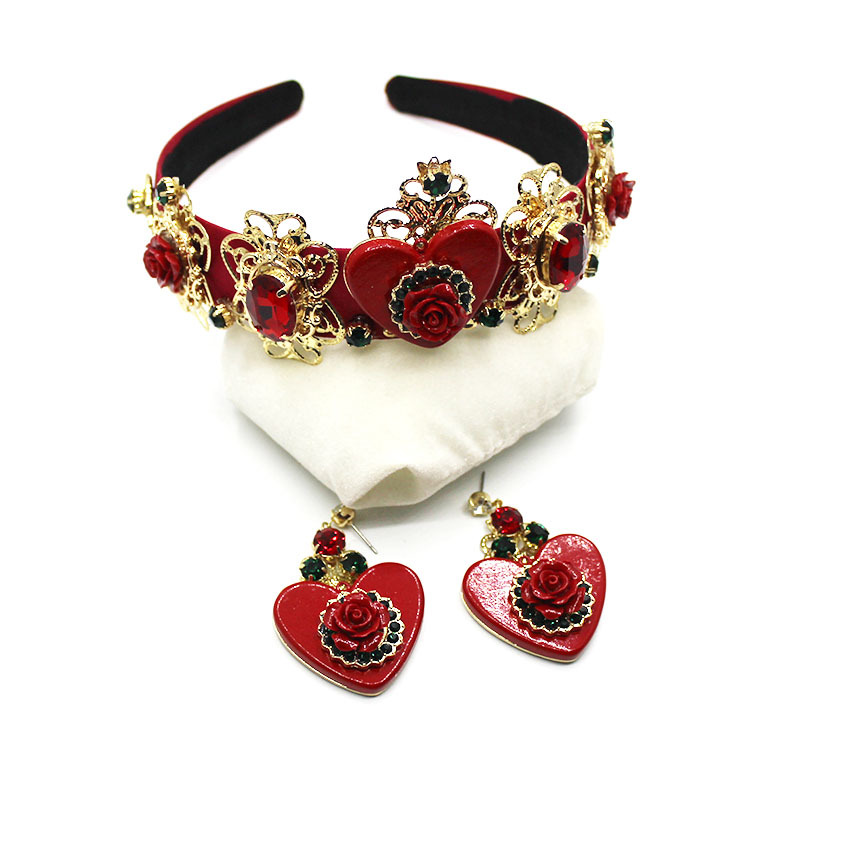 New Baroque Heart-shaped Porcelain Flower Beach Street Fashion Hairband Bridal Hairband Earrings Set Accessories 902 multicolor flower bowknot hairband