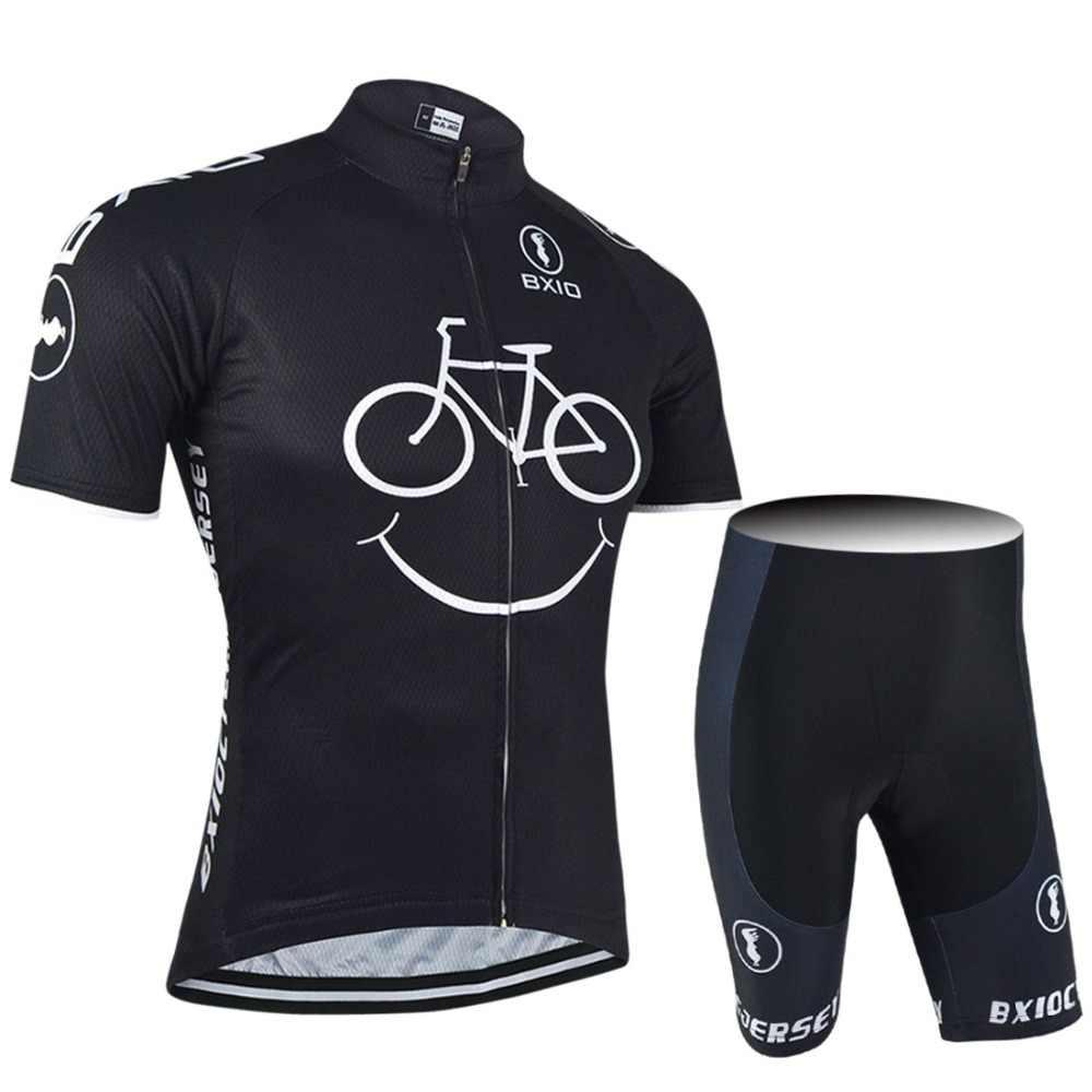 Bxio Pria Bersepeda Pakaian Tim Pro Sepeda Lengan Pendek dengan Bib Celana Pendek Tiga Kantong Belakang dari Bersepeda Kaus Ropa ciclismo 085