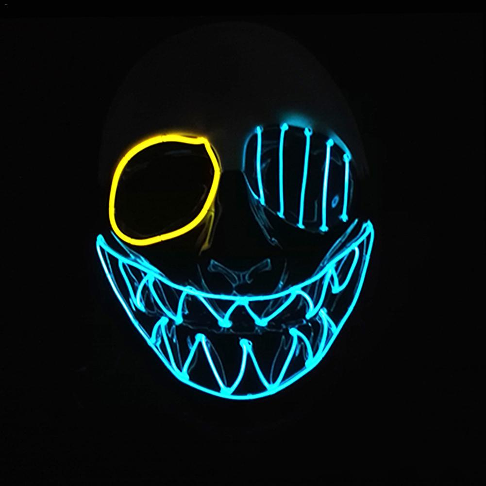 Three Light Modes EL Wire Ghost Mask LED Light Up Neon Mask for Halloween Luminous Masquerade Dancing Carnival Party Decoration