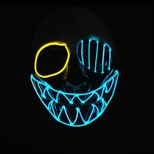 цены Three Light Modes EL Wire Ghost Mask LED Light Up Neon Mask for Halloween Luminous Masquerade Dancing Carnival Party Decoration