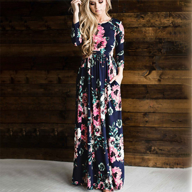 2017 Summer New Women Elegant Vintage Print Rose Flower Fashion Bohemian Ruffle Maxi Dress Female Evening Party Long Beach Tunic