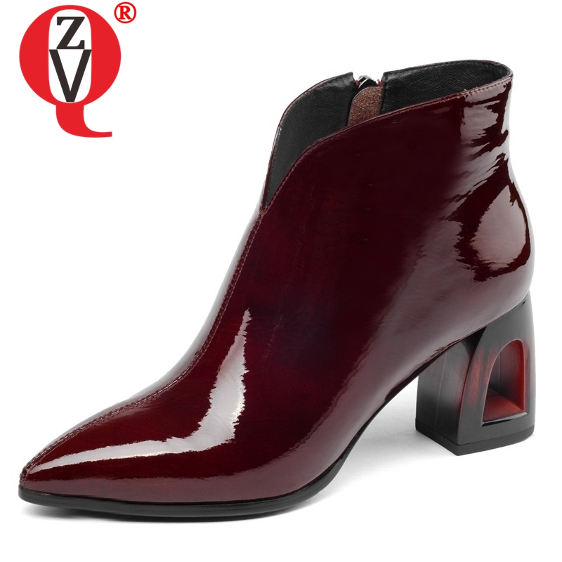 ZVQ 2019 winter newest fashion sexy pointed toe patent leather women shoes high fretwork heels zipper