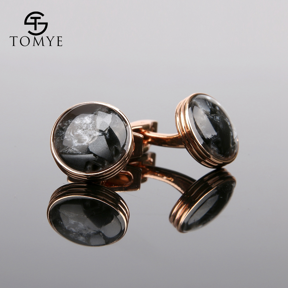TOMYE Rose Gold High End Button Wedding Luxury Funny Cufflinks Men XK19S065
