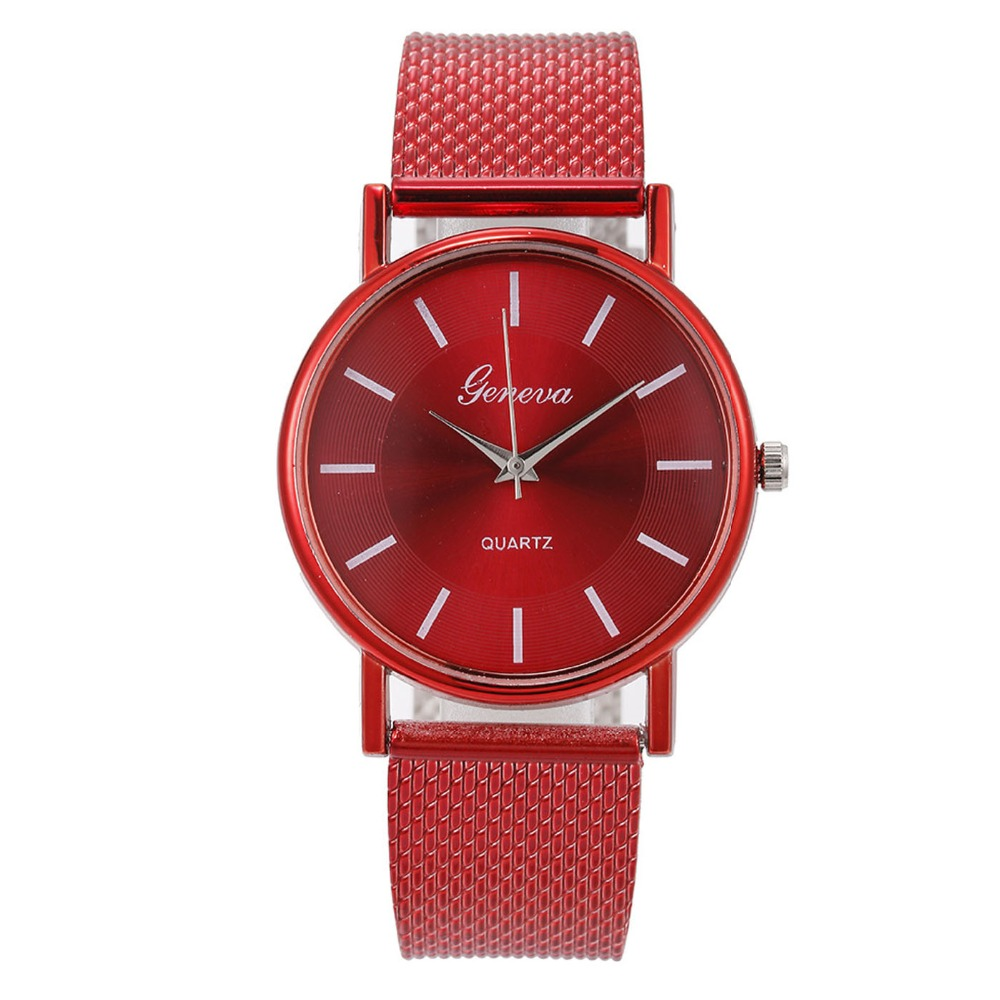 Modern Fashion Red Quartz Pink Blue Watch Men Women Mesh Stainless Steel Watch Strap Casual Pair Of Lover Watches Gift For Women