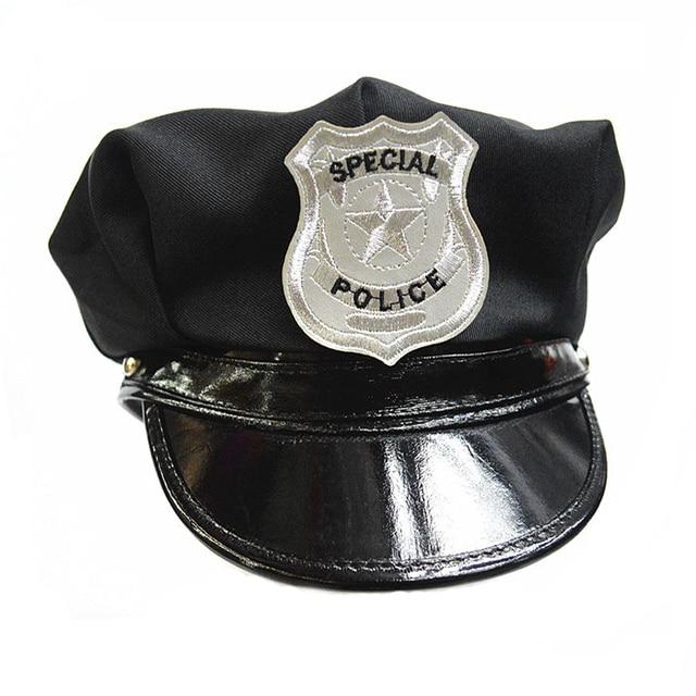 Policía negro sombrero Cosplay sombrero de marinero Boinas ajustable peaked  quepis 00607fea88d
