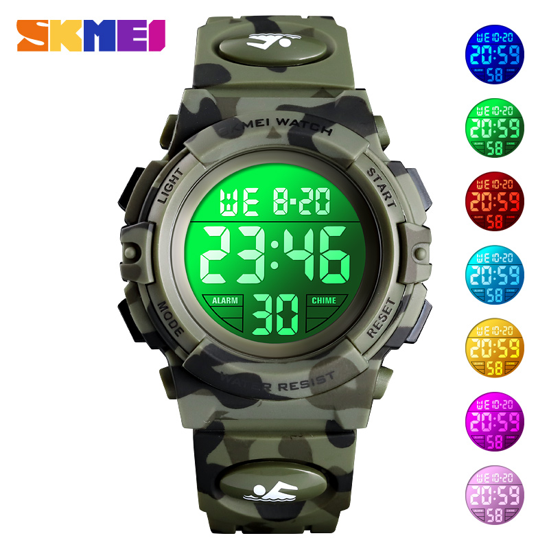 Children's Watch 5Bar Waterproof Sport Colorful LED Digital Wristwatch Military Camouflage Kids Watches Boy Girl SKMEI 2019