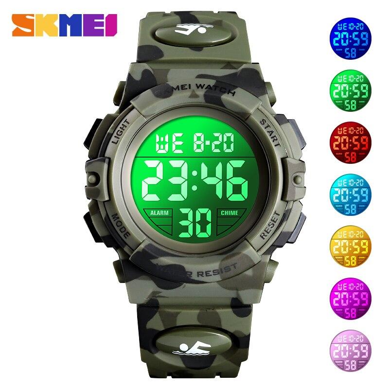 Children's Watch 5Bar Waterproof Sport Colorful LED Digital Wristwatch Military Camouflage Kids Watches Boy Girl SKMEI 2019
